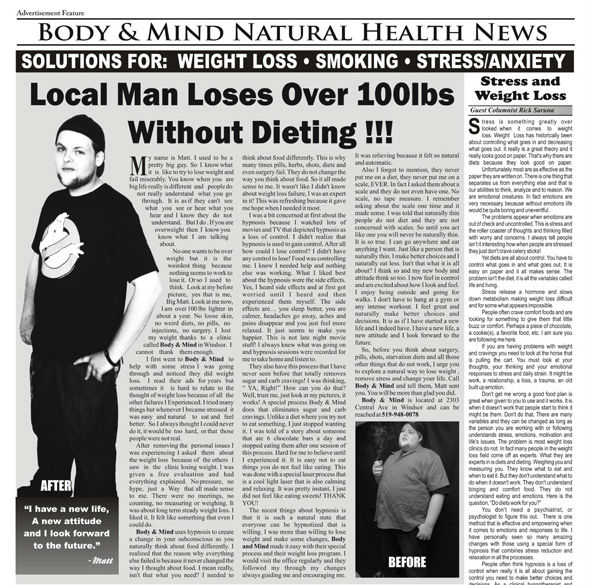 Windsor Ontario Weight Loss With Laser and Hypnosis